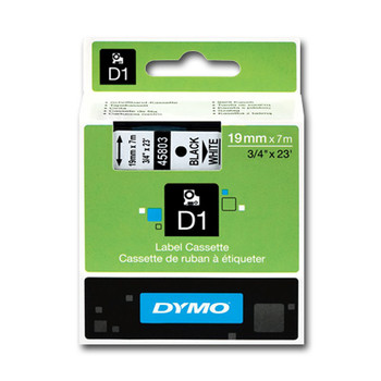 Dymo D1 Black On White Tape 19mm x 7m SD45803