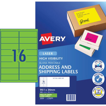 Avery Signalling Labels Fluoro Green 25 Sheets 16 Per Page