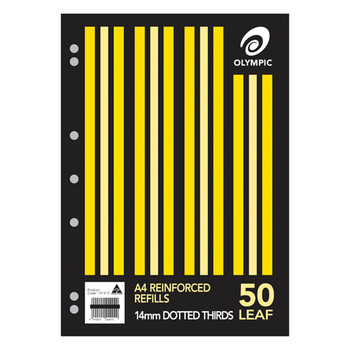 Olympic A4 Reinforced Refills 14mm Dotted Thirds Pk50