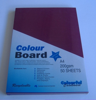 Colourboard Maroon A3 297x420mm 50/Pack