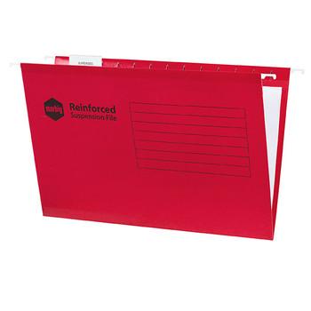 Marbig Reinforced Suspension File Complete Foolscap Red Pack 25