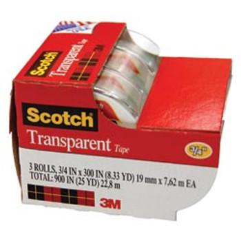 Scotch 3157S Transparent Tape 19mm x 7.6m 3/Pack Caddy