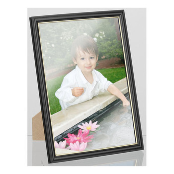Carven Document & Picture Frame Black with Gold Trim  A4