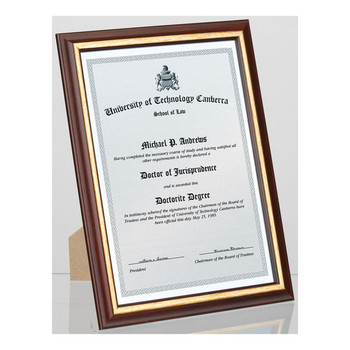 Carven Document & Picture Frame Redwood Timber With Gold A4