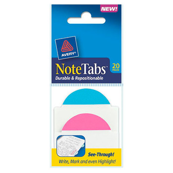 Avery Note Tabs Dureable & Repositionable 50.8x38.1mm Neon 16305
