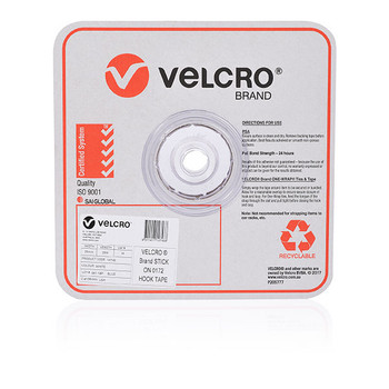 Velcro White Hook Only Strips 25mm x 25m