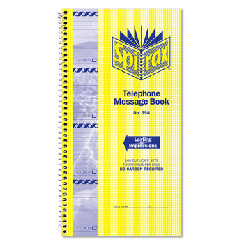 Spirax 558 Telephone Message Book Side Open 279x144mm