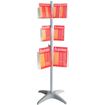 Esselte Floor Carousel Brochure Holder Display Stan 3 Level DL, A5, A4, 24 sections