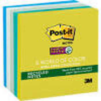 Post-it 654-5SST 30% Recycle Super Sticky Notes Tropical 76x76mm 5Pads/Pack