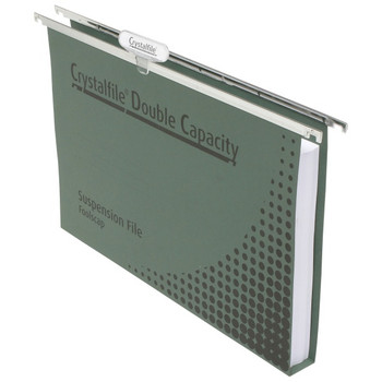 Crystalfile Double Capacity Suspension Files with Tabs & Inserts - Box of 50