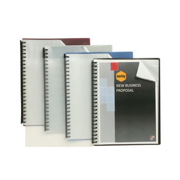 Marbig Clearfront Refillable Display Books A4 20 Pocket Blue 12/PK