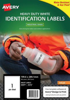 Avery Durable Heavy Duty Labels J4776 199.6 x 289.1mm 1up Pk/10
