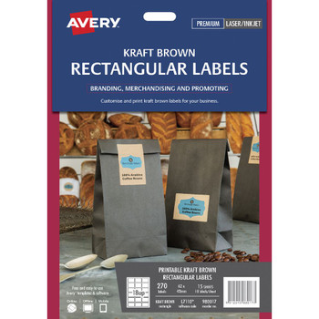 Avery Print-to-the-Edge Rectangle Labels Kraft Brown 270 Pack 980017