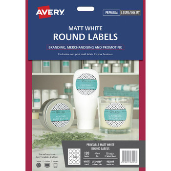 Avery Print-to-the-Edge Removable Round Labels White 120 Pack 980009