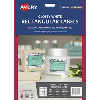 Avery 18UP Rectangle Labels Gloss White 10 Sheets 980013