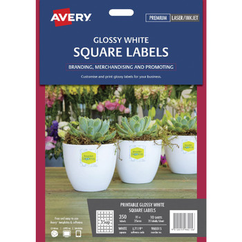 Avery Print-to-the-Edge Square Labels Gloss White 350 Pack 980015