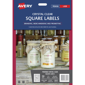 Avery Crystal Clear Square Labels Transparent 200 Pack 980021