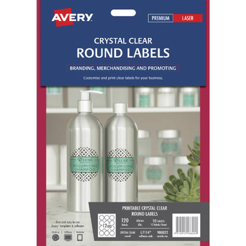 Avery Crystal Clear Round Labels Transparent 120 Pack 980022