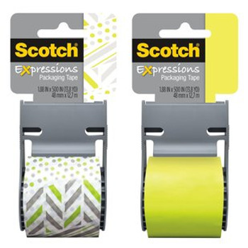 Scotch 141-PRTD7 Expressions Packaging Tape 48mm x 12.7m Mixed Match Green