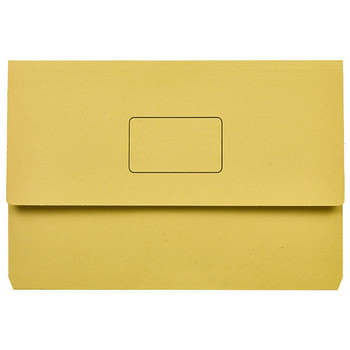 Marbig Slimpick Document Wallets Foolscap Yellow Pack Of 50