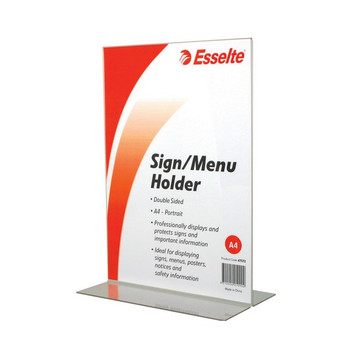 Esselte Sign/Menu Holder 2 Sided Portrait A4 Clear