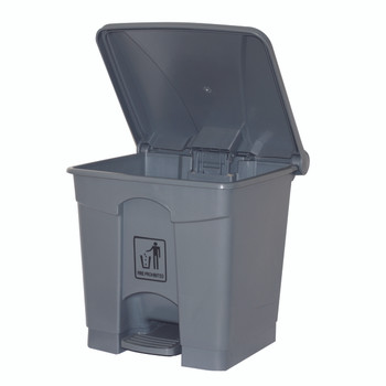 Cleanlink Rubbish Bin With Pedal Lid 30Litre Grey