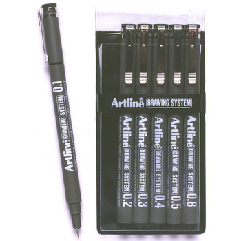 Artline Drawing System Pens Black 6 Pack