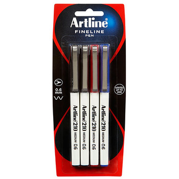 Artline 210 0.6mm Fineliner Black 4 Pack