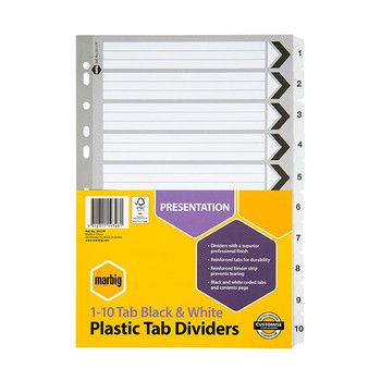 Marbig Reinforced A4 1-10 Tab Divider Black and White