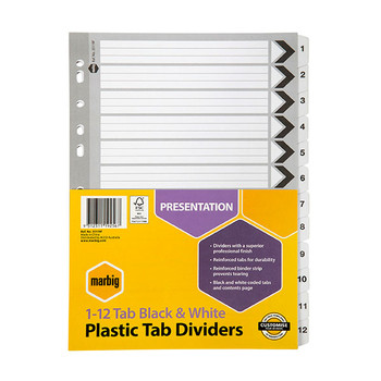 Marbig Reinforced A4 1-12 Tab Divider Black and White