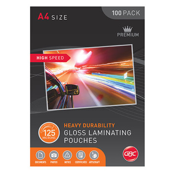 GBC A4 High Speed Laminating Pouch 125 Micron Gloss 100 Pack