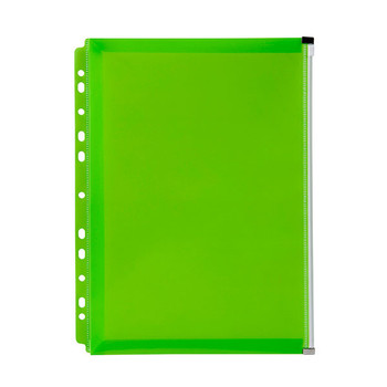 Marbig Binder Wallet A4 Right Side Zip Open Lime Green