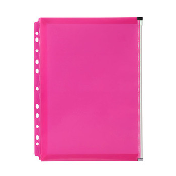 Marbig Binder Wallet A4 Right Side Zip Open Pink