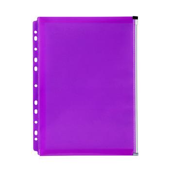 Marbig Binder Wallet A4 Right Side Zip Open Purple