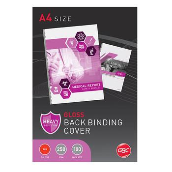 GBC Binding Cover A4 250gsm Gloss Red PK100