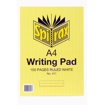Spirax 411 Writing Pad A4 100 Page Ruled