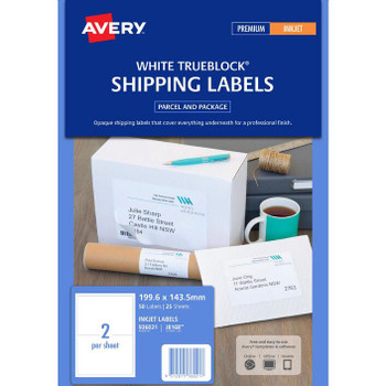Avery J8168 2UP Shipping Labels White 25 Sheet