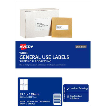 Avery L7169GU 4UP General Use Labels White 100 Sheet