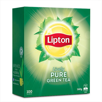 Lipton Lively Pure Green Tea Bags PK100 String & Tag