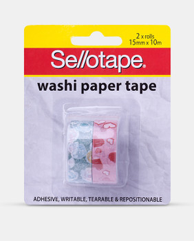 Sellotape Washi Paper Tape 15mm x 10m PK2 Assorted Designs