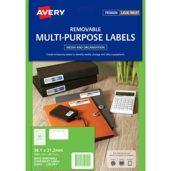 Avery 959049 L7651REV Removable Multi-purpose Laser Inkjet Labels 65UP PK25