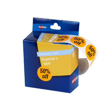 Avery 937317 Message Dispenser Label '50% Off' 24mm 500 Pack