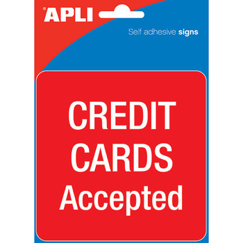 APLI Self Adhesive Signs Credit Cards Accepted PK 1
