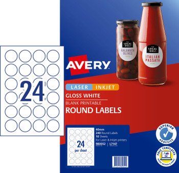 Avery 980052 L7147 Round Gloss Label 40mm White 240 Pack