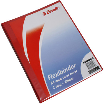 Esselte Flexibinder 2 Ring 20mm A4 Clear Front Red