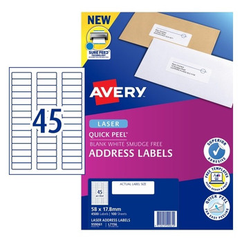 Avery 45UP Quick Peel Address Labels with Sure Feed 100 Sheets