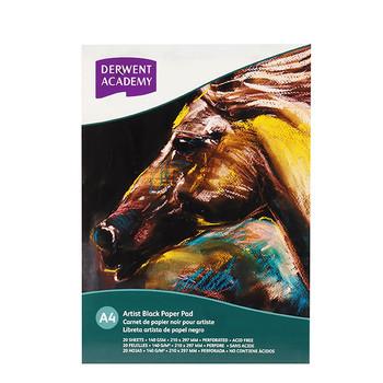 Derwent Academy Artist Black Paper Pad 140gsm 20 Sheets A4