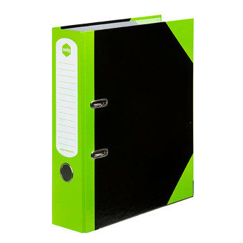 Marbig 6855304 Lever Arch File A4 Gloss Black/Lime Box of 6
