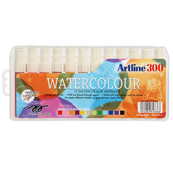 Artline 300 Liquid Crayons Colouring Marker Assorted 12 Pack