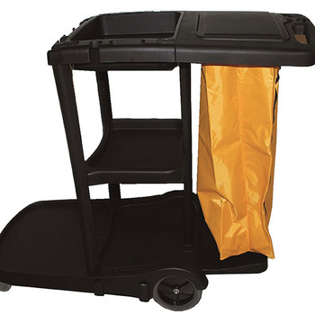 Cleanlink Janitor's Trolley 3 Tier With Lid Black